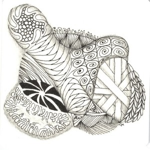 Zentangle made with ear buds string