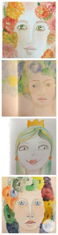 Grace Mendez Art Journal Faces