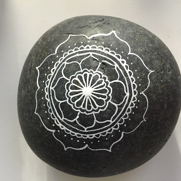 Grace Mendez Painting on Rocks Mandala