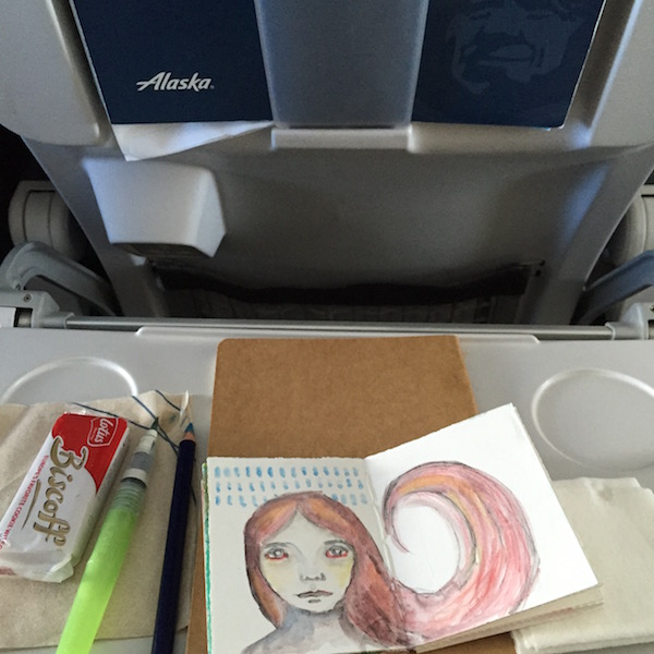 Grace Mendez Travel Art Supplies on tray