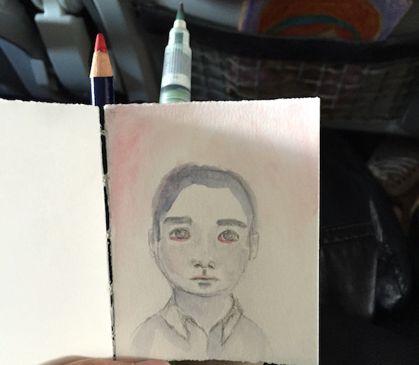 Grace Mendez Using Art Supplies on Plane