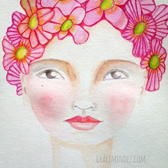 Pink Flowers Mixed Media by Grace Mendez