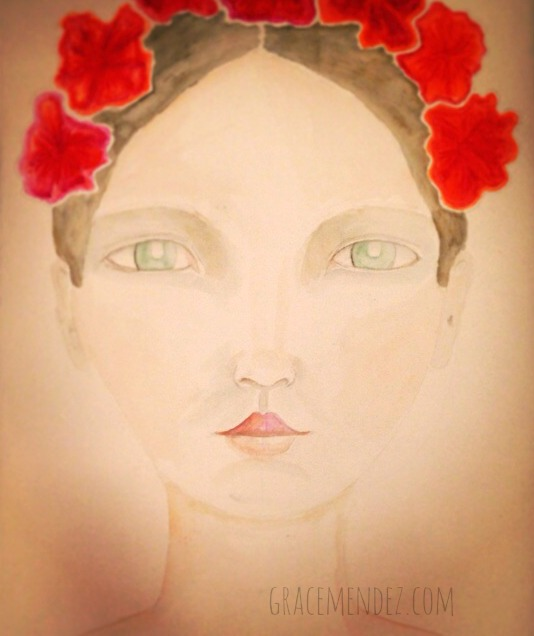 Red Flowers Mixed Media face by Grace Mendez