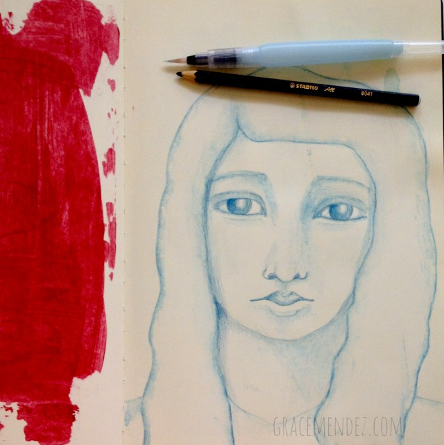 Stabilo Marks All and waterbrush in Moleskine Sketchbook for a minimal art journal page