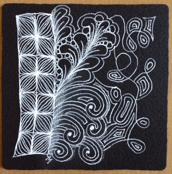 Black Zentangle tile by Grace Mendez