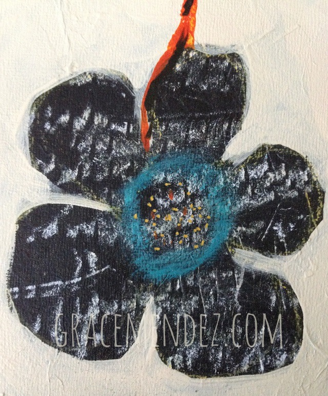 mixed media flower by Grace Mendez