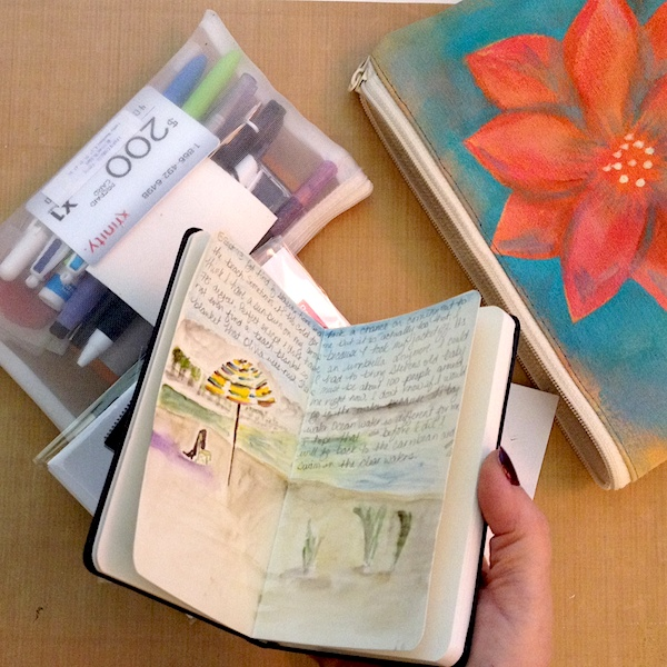 Small Moleskine Sketchbook with beach scene by Grace Mendez