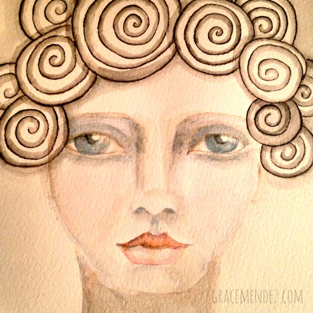 Mixed media face by Grace Mendez