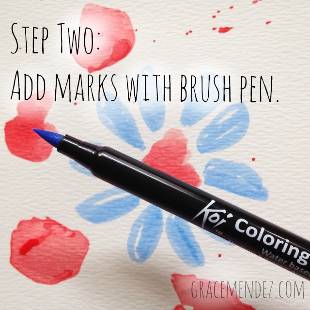 Step Two: Add marks with brush pen by Grace Mendez