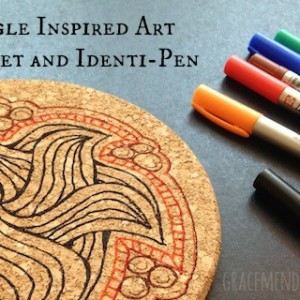 Identi-Pen and Zentangle Inspired Art on Cork Trivet