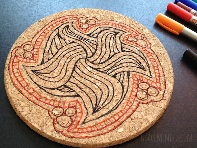 Zentangle Inspired Art Cork Trivet by Grace Mendez
