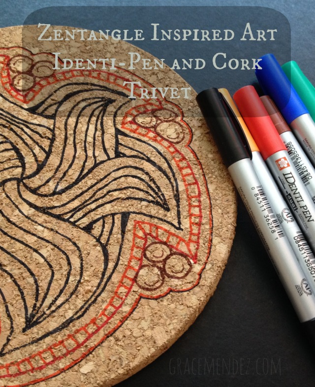 Zentangle Inspired Art Cork Trivet and Identi-Pens by Grace Mendez