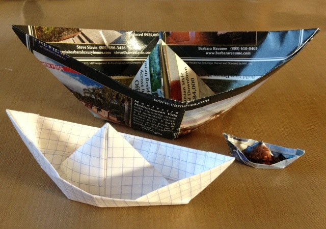 Origami boats with secret journal writing space