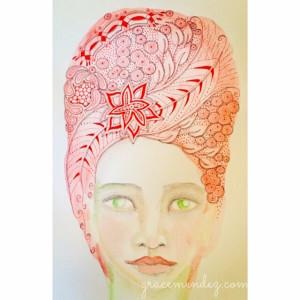 Grace Mendez zentangle inspired art portrait