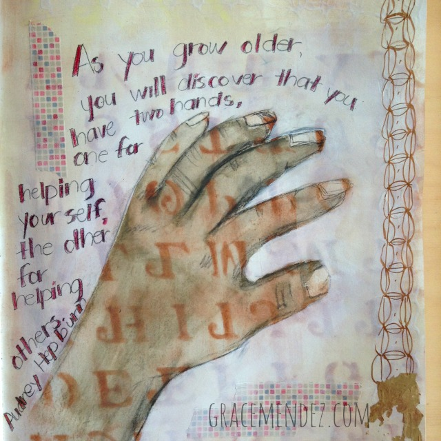 Mixed media journal page by Grace Mendez