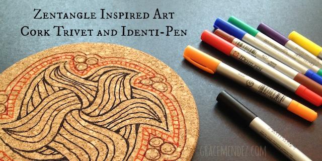 Zentangle Inspired Art Cork Trivet by Grace Mendez